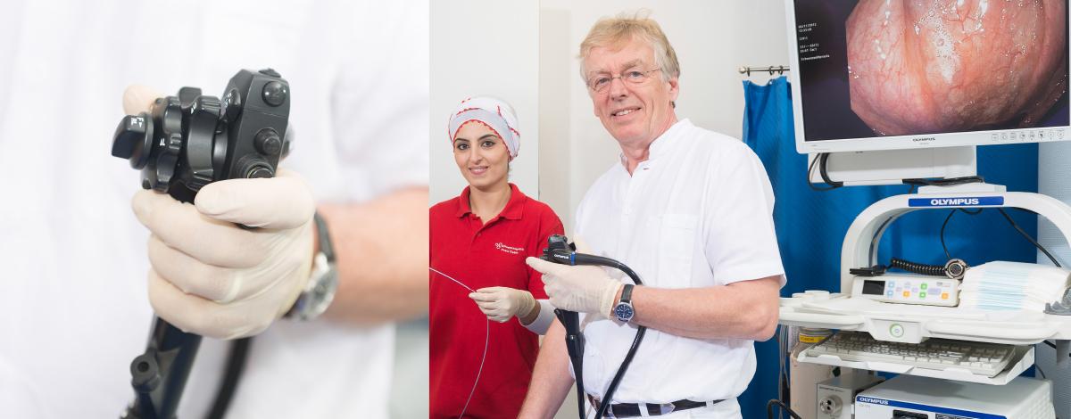 Endoskop (Koloskop) und Arbeitsplatz für Darmspiegelung (Koloskopie) unserer Schwerpunktpraxis für Magen- und Darmerkrankungen, in Hamburg-Billstedt